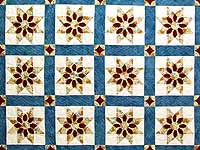 King Blue and Dark Burgundy Dahlia Star Quilt
