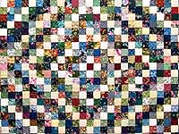 King Navy Burgundy and Multi Postage Stamp Quilt