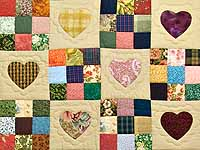 Dark Green Burgundy and Multicolor Hearts and Nine Patch Quilt