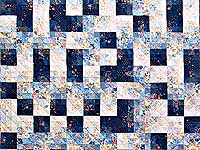 King Navy Blue Fabric Maze Quilt