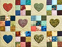 Navy and Burgundy Hearts and Nine Patch Quilt