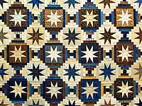 Navy and Brown Court Step Stars Quilt
