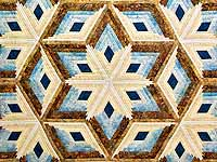 Pastel Blue and Gold Diamond Star Log Cabin Quilt