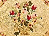 King Sage Green and Rose Spring Basket Quilt