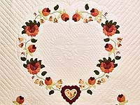 Salmon Heart of Roses Quilt