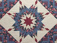Blues Rose and Cream Lone Star Log Cabin Quilt