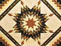 Gold Black and Moss Lone Star Trip Quilt