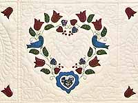 Blue and Burgundy Friendship Hearts Quilt