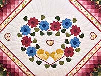 Rose and Multicolor Sunshine Sweetheart Quilt