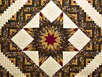 Brown and Gold Lone Star Log Cabin Quilt