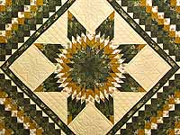 Dark Green and Gold Lone Star Trip Quilt