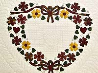Green Burgundy and Gold Hearts Bouquet Quilt