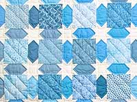 King Pastel Blue and Cream Starry Sky Quilt