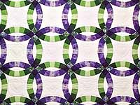 King Green and Purple Double Wedding Ring Quilt