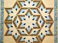 King Pastel Blue and Gold Diamond Star Log Cabin Quilt
