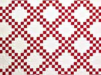 Red and White Double Irish Chain Quilt