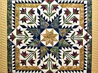 King Gold Navy and Burgundy Blooming Star Quilt