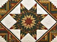 King Green Rusty Red and Gold Lone Star Log Cabin Quilt