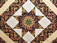 Rose Green Gold and Black Lone Star Log Cabin Quilt