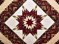 Burgundy Black and Green Lone Star Log Cabin Quilt