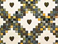 King Plaid with Hearts Triple Irish Chain Quilt
