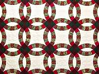 Burgundy and Green Double Wedding Ring Quilt