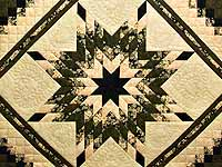 Moss Peach and Black Lone Star Trip Quilt