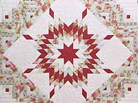 Pastel Rose Blue and Cream Lone Star Log Cabin Quilt