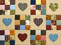 King Olive Green Burgundy and Multi Hearts and Nine Patch Quilt