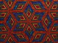 King Red Mauve and Multicolor  Diamond Star Log Cabin Quilt