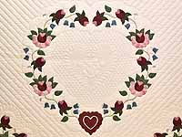 King Rose Blue and Green Heart of Roses Quilt