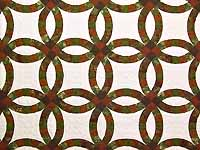 Brick Red and Moss Green Double Wedding Ring Quilt