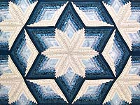 King Blue and Cream Diamond Star Log Cabin Quilt