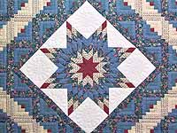 Pastel Blue Rose and Cream Lone Star Log Cabin Quilt
