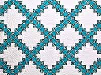 Aqua Blue and Brown Double Irish Chain Quilt