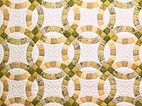 Moss and Golden Tan Double Wedding Ring Quilt