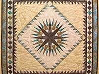 King Golden Tan Brown and Turquoise Mariner's Compass Quilt