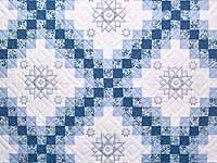 King Blue and Ivory Cross Stitch Irish Chain  Quilt
