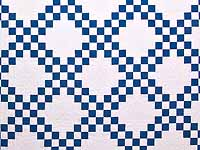 Blue and Cream Double Irish Chain Quilt