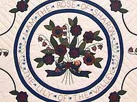 Navy and Multicolor Rose of Sharon Quilt
