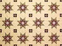 Rose Teal and Tan Dahlia Star Quilt