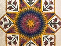 Wine Gold and Navy Flowering Star Quilt
