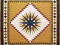 King Brown Burgundy and Navy Mariner's Compass Quilt