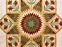 King Tan Burgundy and Sage Flowering Star Quilt