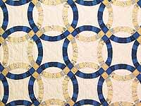 Navy Blue and Golden Tan Extra Fine Double Wedding Ring Quilt