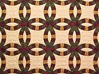 Moss Burgundy and Golden Tan Double Wedding Ring Quilt