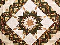 Moss Tan and Mauve Lone Star Log Cabin Quilt