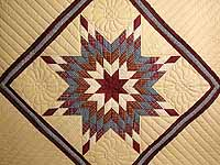 Plaid Burgundy and Tan Lone Star Sampler Quilt