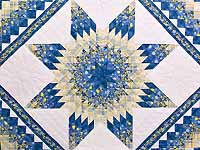 Pastel Blue and Yellow Lone Star Trip Quilt
