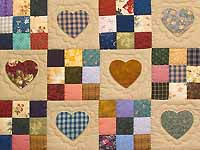 Burgundy and Navy Hearts and Nine Patch Quilt